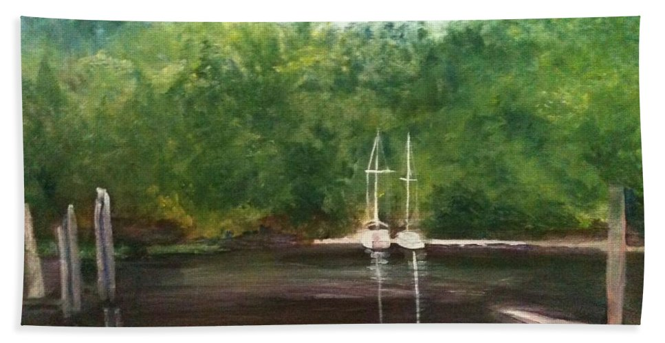Plein Aire Bath Towel featuring the painting Curtain's Marina by Sheila Mashaw
