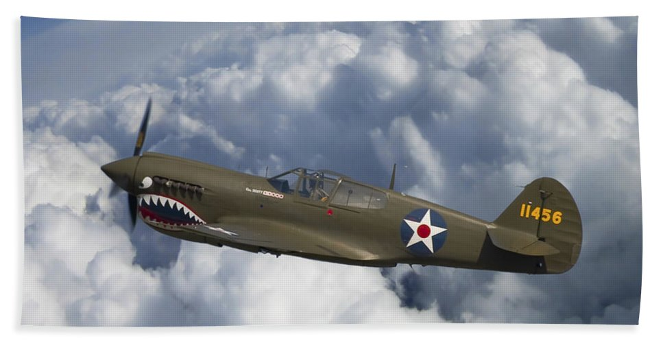 3scape Photos Hand Towel featuring the photograph Curtiss P-40 Warhawk Flying Tigers by Adam Romanowicz