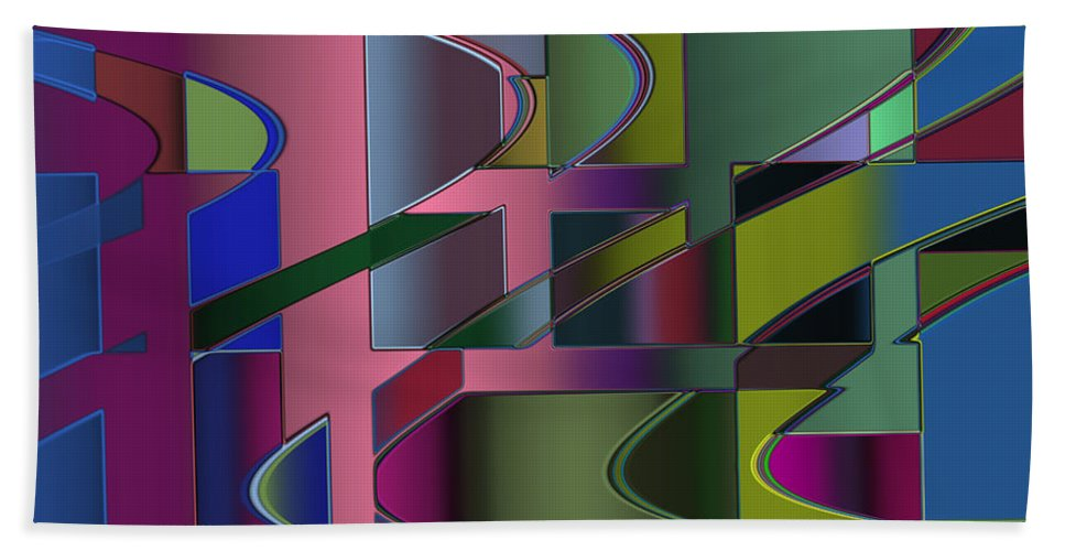 Geometric Bath Sheet featuring the digital art Curves And Trapezoids 3 by Judi Suni Hall