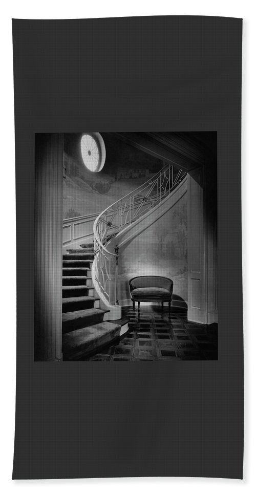 Interior Bath Towel featuring the photograph Curving Staircase In The Home Of W. E. Sheppard by Maynard Parker