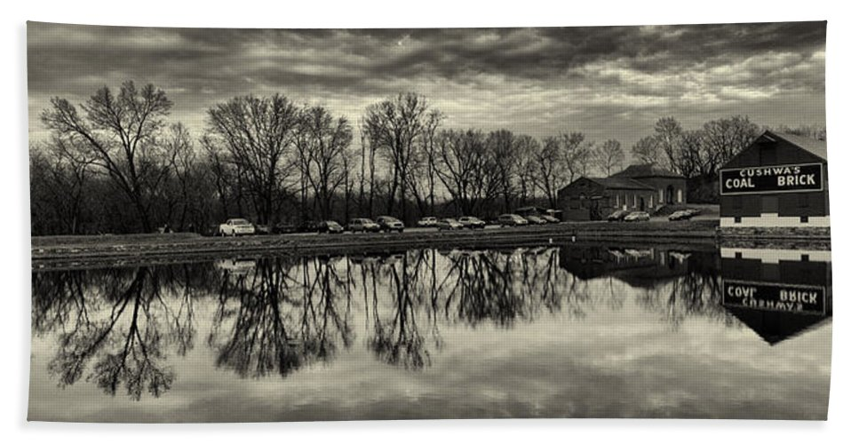 Joshua House Photography Bath Sheet featuring the photograph Cushwa Basin C And O Canal Black And White by Joshua House