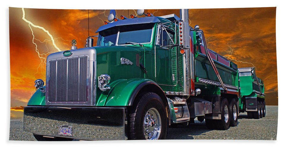 Trucks Bath Sheet featuring the photograph Custom Gravel Truck Catr0278-12 by Randy Harris
