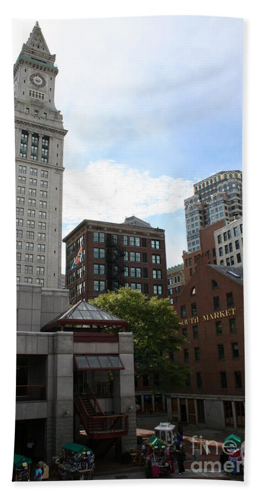 Boston Hand Towel featuring the photograph Custom House - Boston by Christiane Schulze Art And Photography