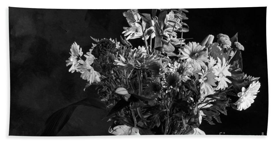 Colors Bath Sheet featuring the photograph Cut Flowers In Monochrome by Les Palenik
