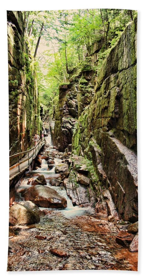 The Flume Bath Sheet featuring the photograph Cut Through The Flume by Heather Applegate