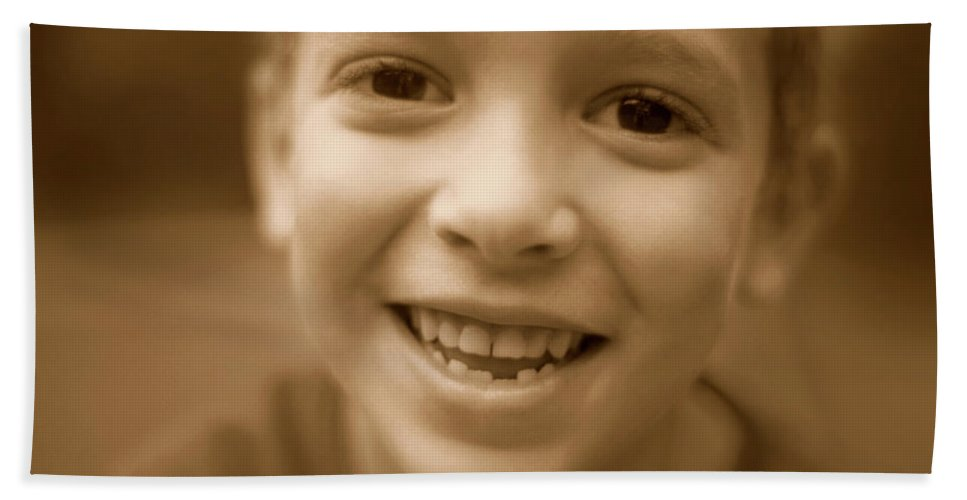 10-11 Years Hand Towel featuring the photograph Cute Boy Smiling by Jill Wachter