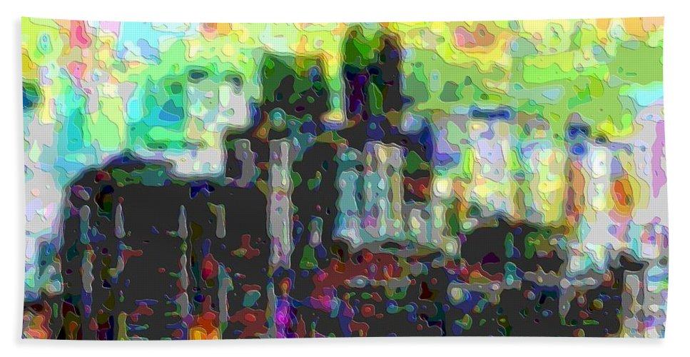 Cutout-art Hand Towel featuring the digital art Cutout Art City Optimist by Mary Clanahan