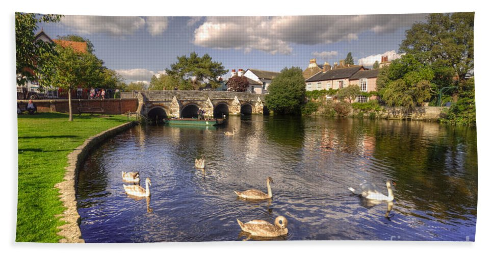 Christchurch Hand Towel featuring the photograph Cygnets At Christchurch by Rob Hawkins
