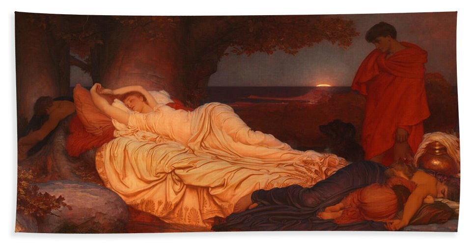 Frederic Leighton Hand Towel featuring the painting Cymon And Iphigenia by Frederic Leighton