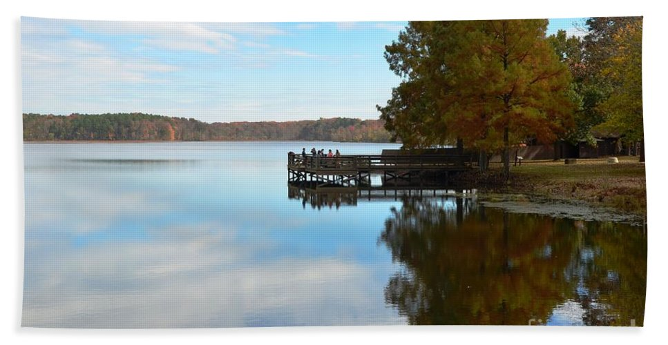 Lake Bailey Hand Towel featuring the photograph Cypres Reflections by Deanna Cagle