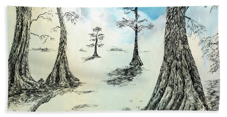 Cypress Bath Sheet featuring the drawing Cypress In Ink by Lizi Beard-Ward