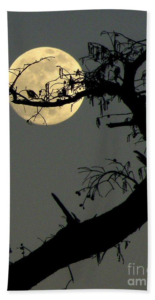 Yellow Moon Print Bath Sheet featuring the photograph Cypress Moon by Joe Jake Pratt