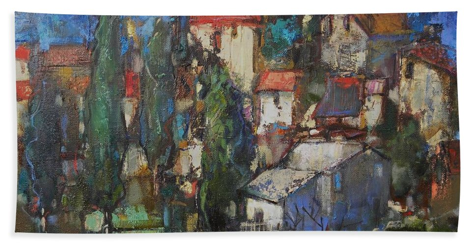 Landscape Bath Sheet featuring the painting Cypresses by Grigor Malinov
