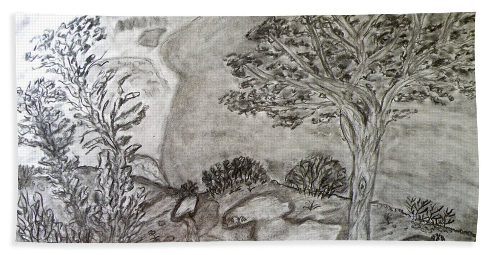 Cypresses In Cyprus Hand Towel featuring the drawing Cypresses In Cyprus by Augusta Stylianou