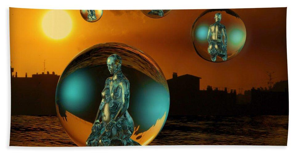 Cinema4d Hand Towel featuring the digital art Cyrstal Children Of Sun by Rosa Cobos