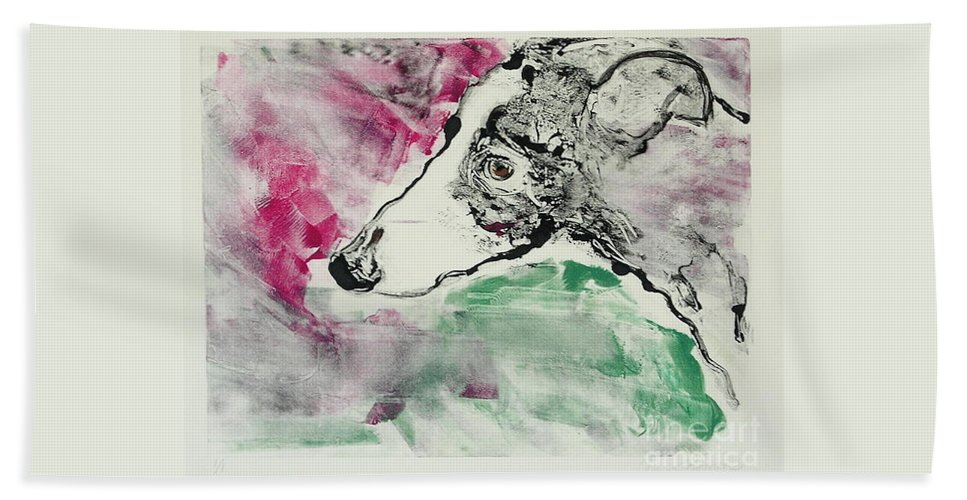 Greyhound Bath Towel featuring the painting Cyrus by Cori Solomon