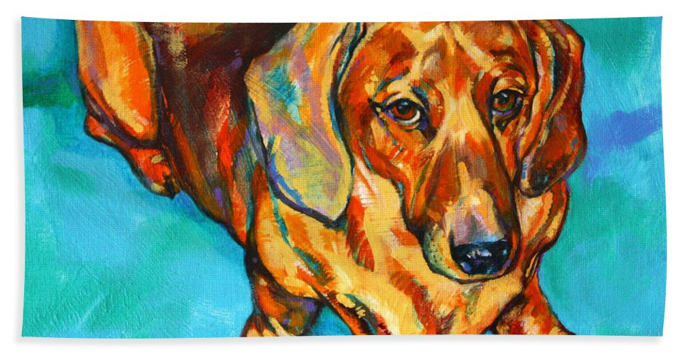 Dachshund Hand Towel featuring the painting Dachshund by Derrick Higgins