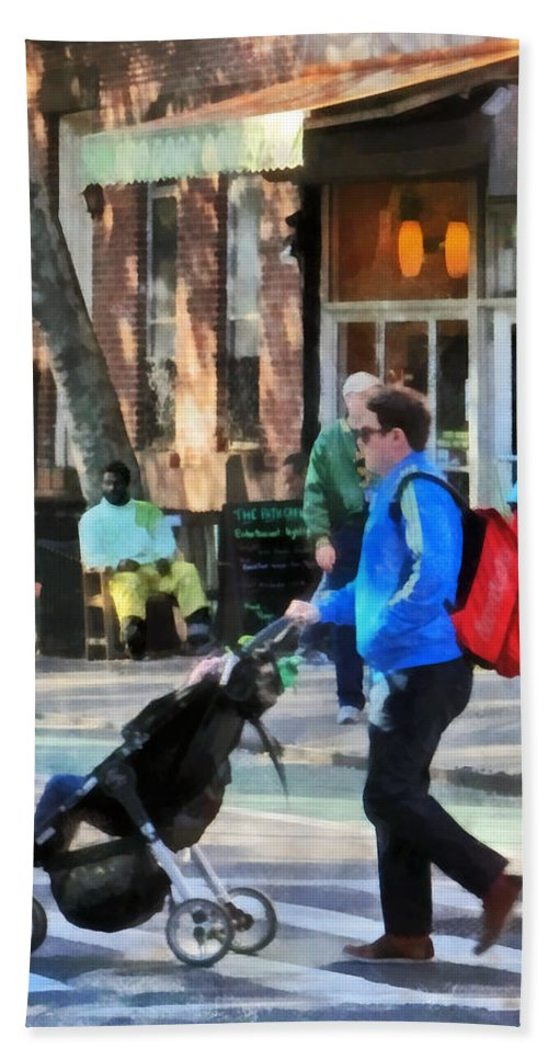 Greenwich Village Hand Towel featuring the photograph Daddy Pushing Stroller Greenwich Village by Susan Savad