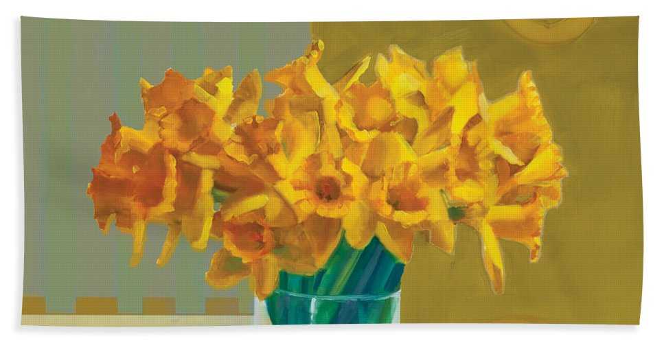 Decorative Bath Sheet featuring the painting Daffodil Bronze by Cathy Locke