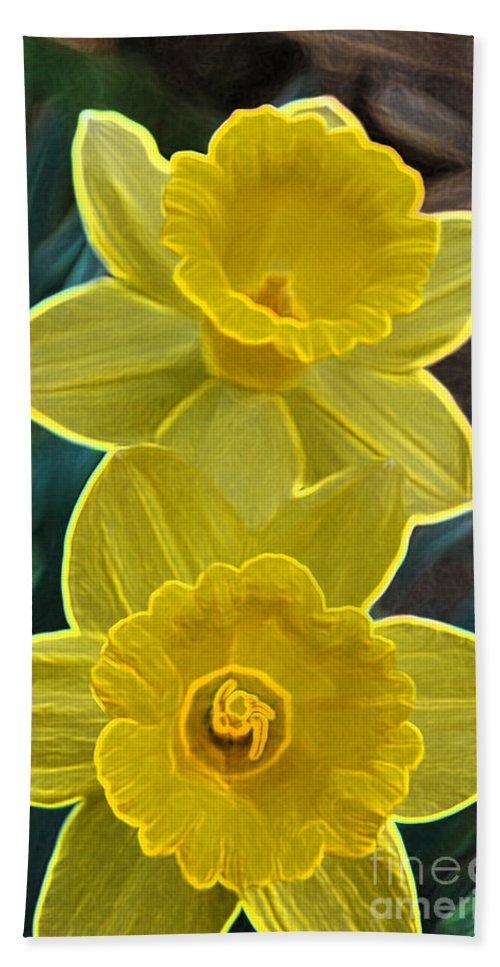 First Star Art Hand Towel featuring the photograph Daffodil Duet By Jrr by First Star Art