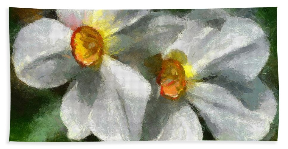 Spring Bath Towel featuring the painting Daffodils by Dragica Micki Fortuna