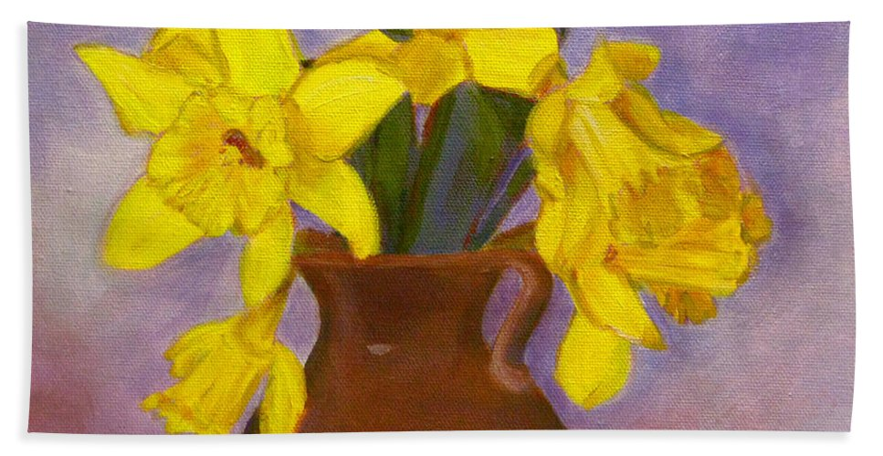 Daffodils Hand Towel featuring the painting Yellow Daffodils On Purple by Robie Benve