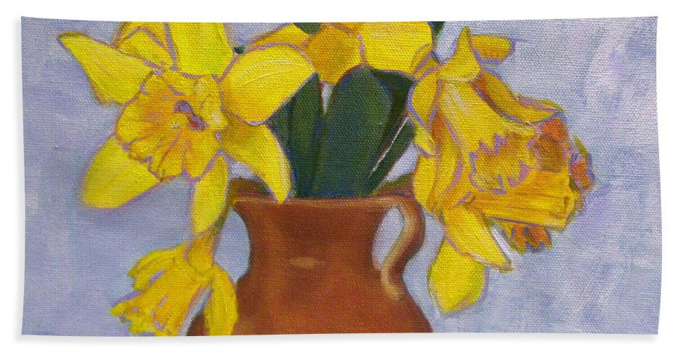 Daffodils Bath Sheet featuring the painting Daffodils by Robie Benve