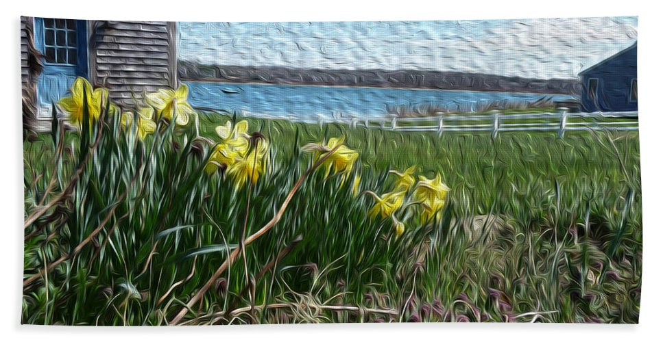 Daffodils Hand Towel featuring the photograph Daffs by Heather MacKenzie