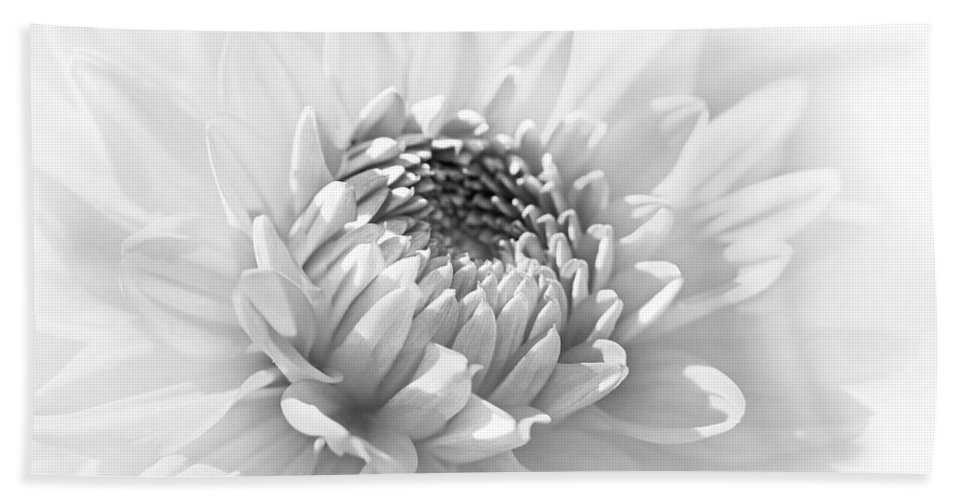 Dahlia Hand Towel featuring the photograph Dahlia Flower Soft Monochrome by Jennie Marie Schell