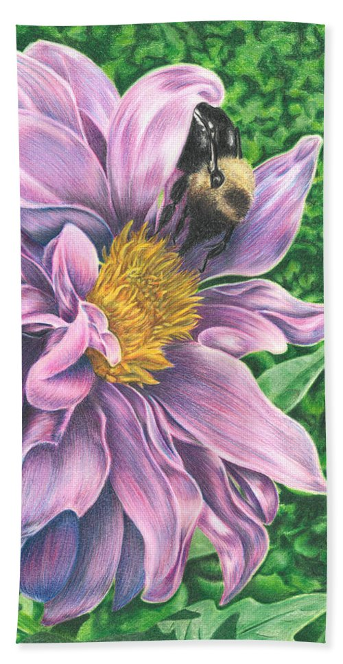 Dahlia Hand Towel featuring the drawing Dahlia by Troy Levesque