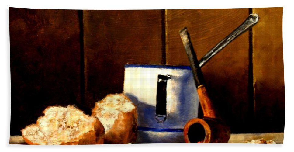 Still Life Hand Towel featuring the painting Daily Bread Ver 1 by Jim Gola