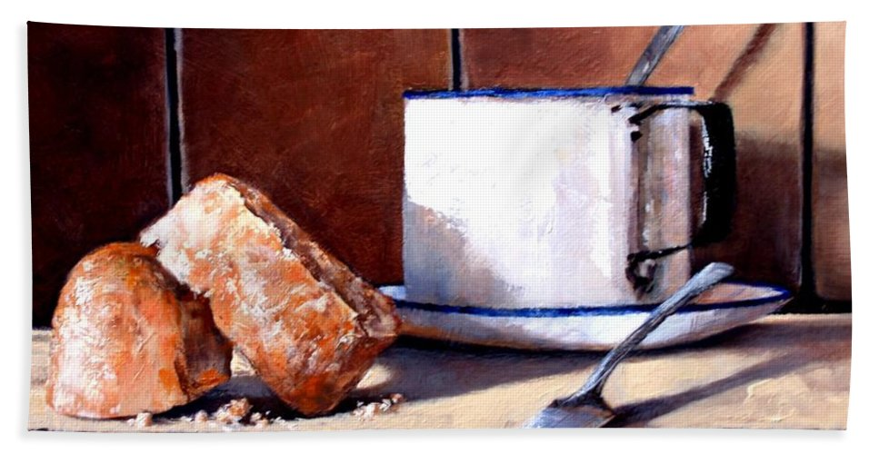 Still Life Hand Towel featuring the painting Daily Bread Ver 2 by Jim Gola