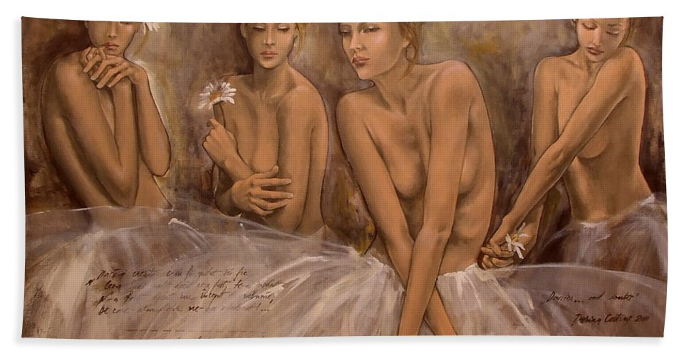 Painting Bath Sheet featuring the painting Daisies And Doubts by Dorina Costras