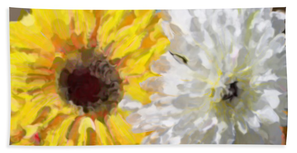 Daisies Bath Sheet featuring the painting Daisies And Sunflowers - Impressionistic by Marie Jamieson