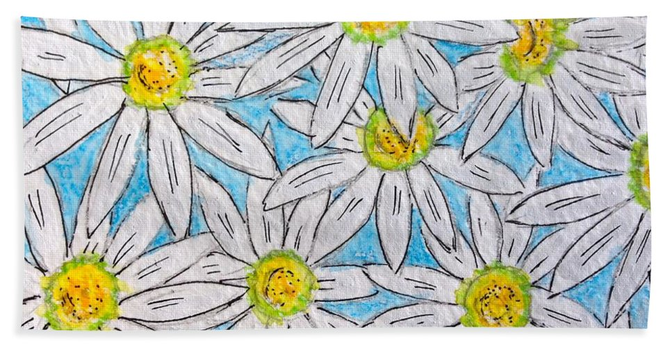Daisy Bath Sheet featuring the painting Daisies Daisies by Kathy Marrs Chandler