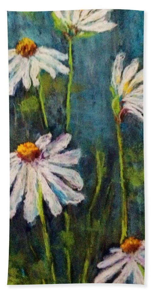 Pastel Painting Hand Towel featuring the pastel Daisies For Mom by Lori Bourgault
