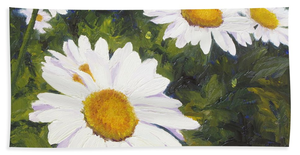 Flowers Hand Towel featuring the painting Daisies Squared by Lea Novak