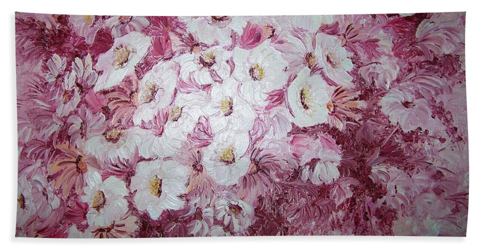 Bath Sheet featuring the painting Daisy Blush by Karin Dawn Kelshall- Best