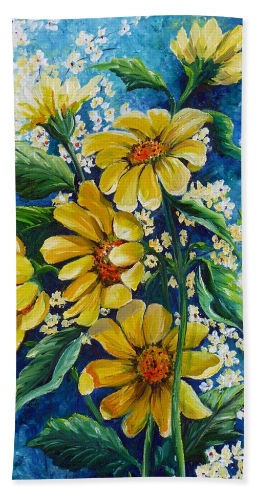 Yellow Daisies Hand Towel featuring the painting Daisy Breath by Karin Dawn Kelshall- Best