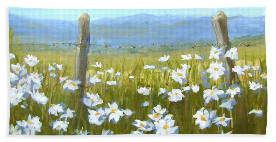 Flowers Hand Towel featuring the painting Daisy Dance by Karen Ilari