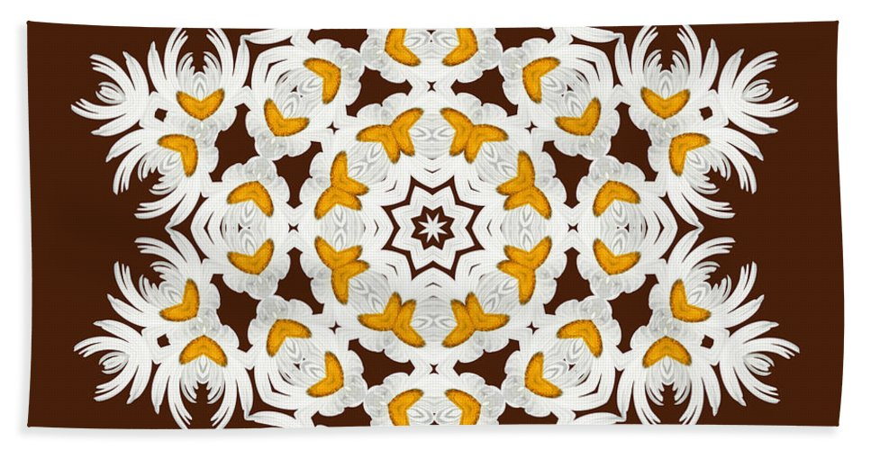 Daisies Hand Towel featuring the digital art Daisy Mandala 12t by Variance Collections