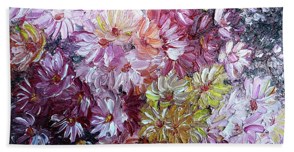 Flowers Bath Towel featuring the painting Daisy Mix  Sold by Karin Dawn Kelshall- Best