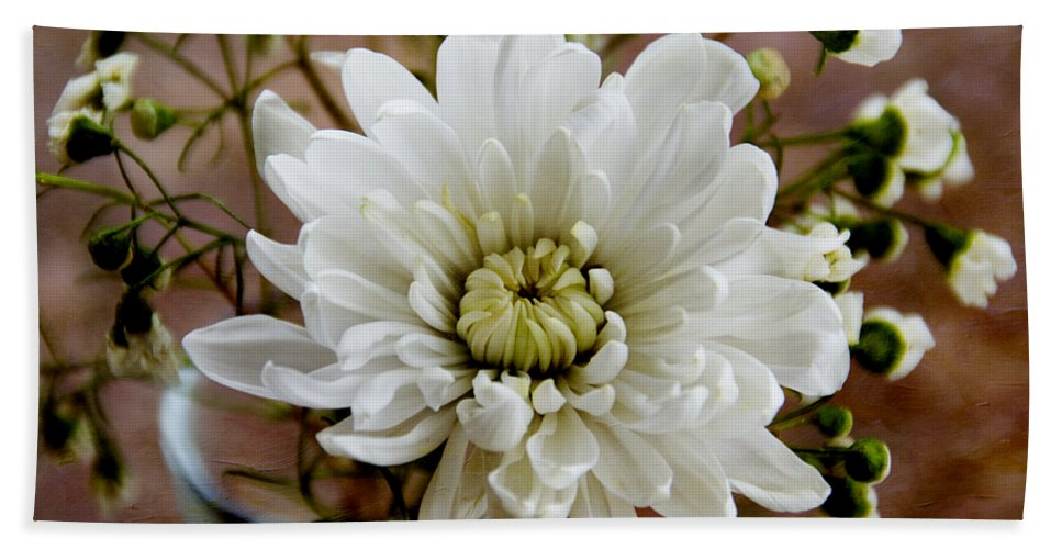 Daisy Hand Towel featuring the photograph Daisy Mum On Red 1 by Angelina Vick
