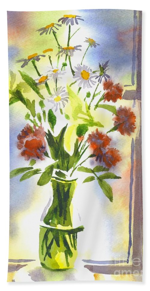 Daisy Supreme Hand Towel featuring the painting Daisy Supreme by Kip DeVore