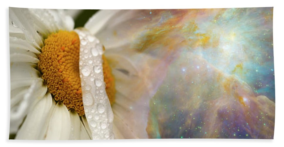 Photography Bath Towel featuring the photograph Daisy With Hubble Cosmos by Panoramic Images