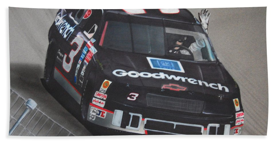 Car Bath Sheet featuring the drawing Dale Earnhardt Wins-wave To The Crowd by Paul Kuras