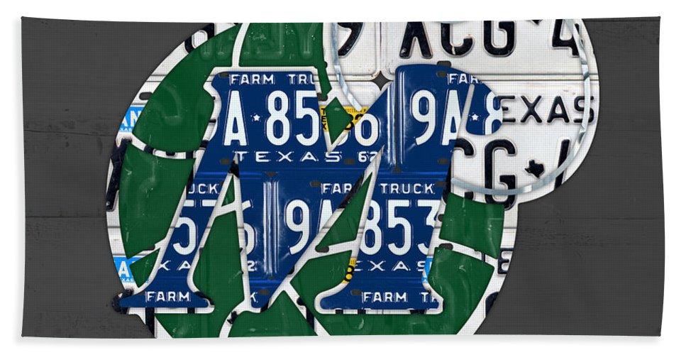 Dallas Bath Sheet featuring the mixed media Dallas Mavericks Basketball Team Retro Logo Vintage Recycled Texas License Plate Art by Design Turnpike