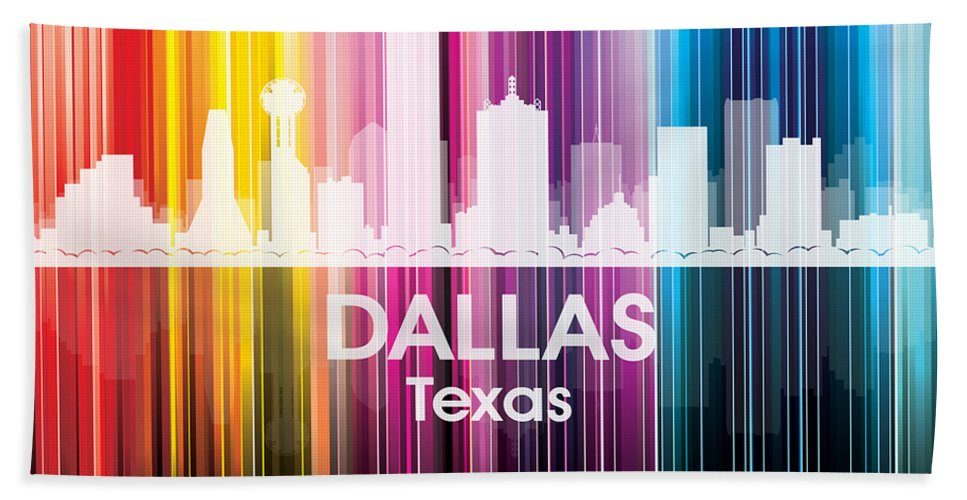 Dallas Hand Towel featuring the mixed media Dallas Tx 2 by Angelina Vick