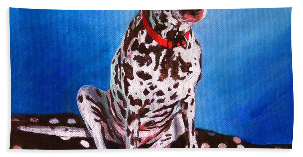Dalmatian Hand Towel featuring the painting Dalmatian On Spotty Cushion by Helen White