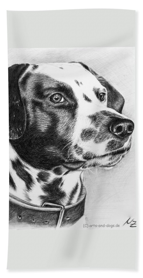 Dog Hand Towel featuring the drawing Dalmatian Portrait by Nicole Zeug
